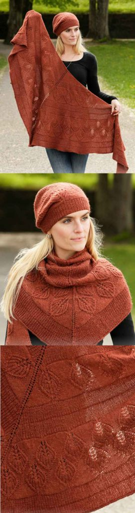 Free Knitting Pattern for a Lacey Laurels Shawl with Matching Hat