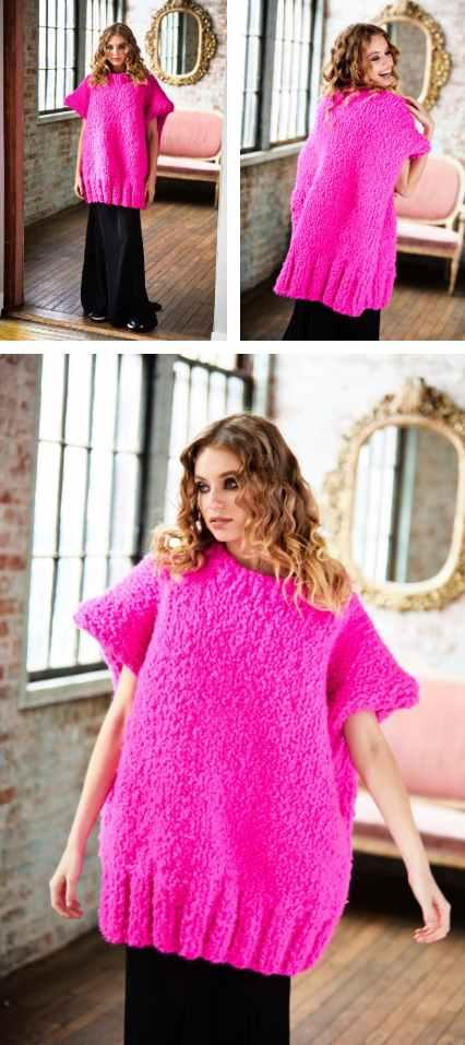 Free Knitting Pattern for a Ladies Oversized Tunic Modern Knitting