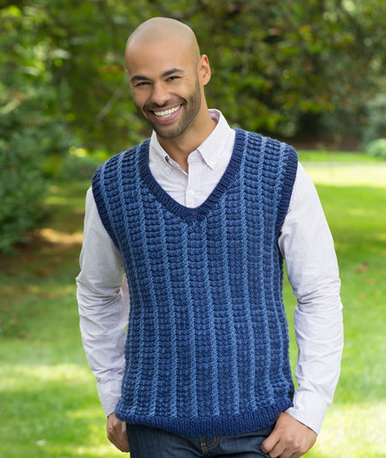 Free Knitting Pattern for a Man's V Neck Vest with Mosaic Stitch