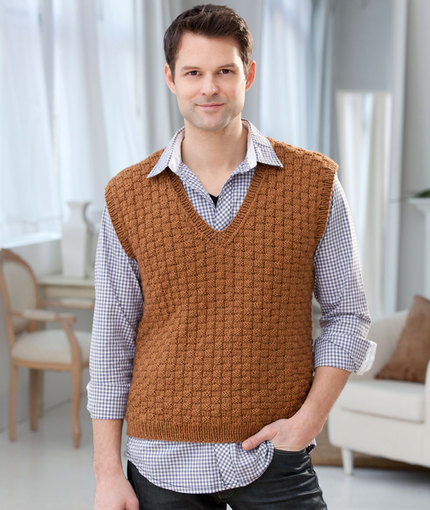 Free Knitting Pattern for a Men's Basketweave V Neck Vest