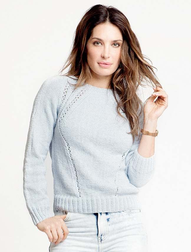Free Knitting Pattern for a Raglan Eyelet Sweater