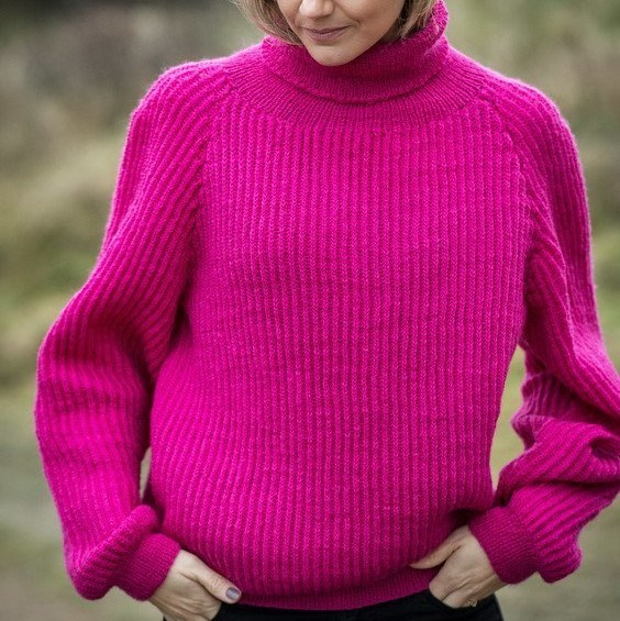 Free Knitting Pattern for a Sweater in Fisherman's Rib 1
