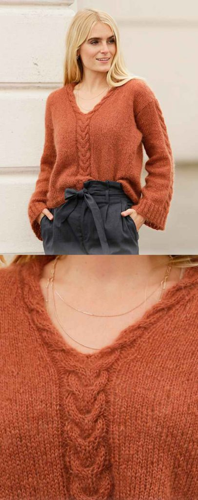 Free Knitting Pattern for a Sweater with Cable V-Neck