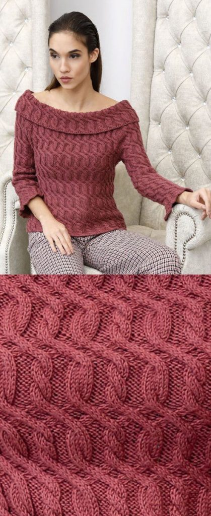 Free Knitting Pattern for a Turned Neck Sweater with Cables