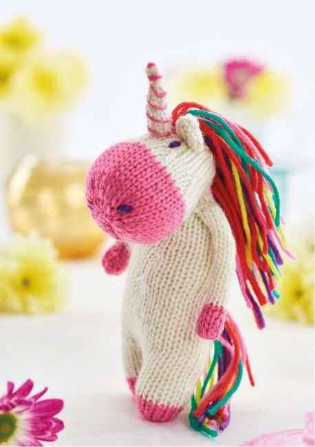 Free Knitting Pattern for a Unicorn Toy