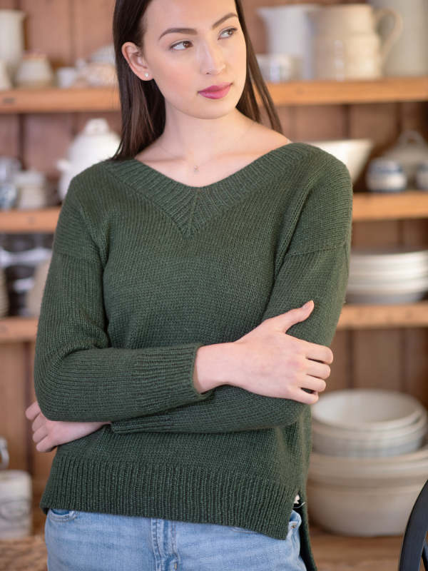 Free Knitting Pattern for a Women's Classic V-Neck Sweater