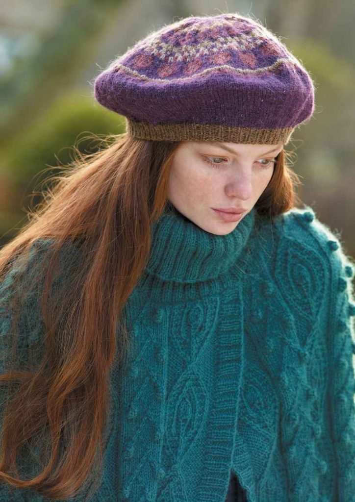 Free Knitting Pattern for an All Over Cable and Bobble Poncho