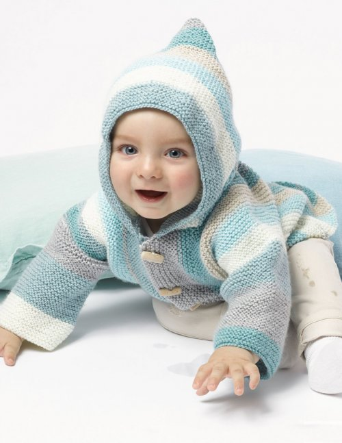 Free baby knitting pattern for a garter stitch jacket with a hood.