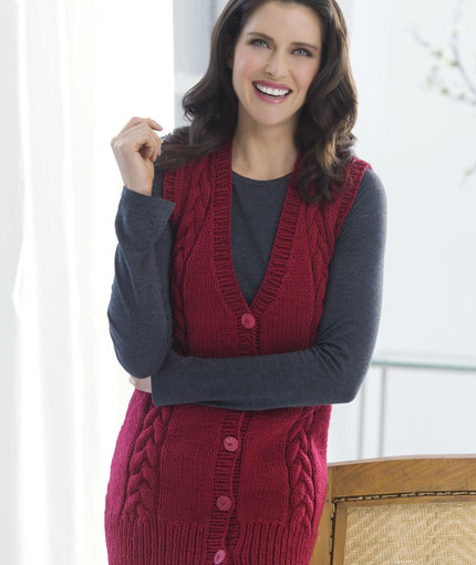 Free Knitting pattern for a v neck vest with cables for women