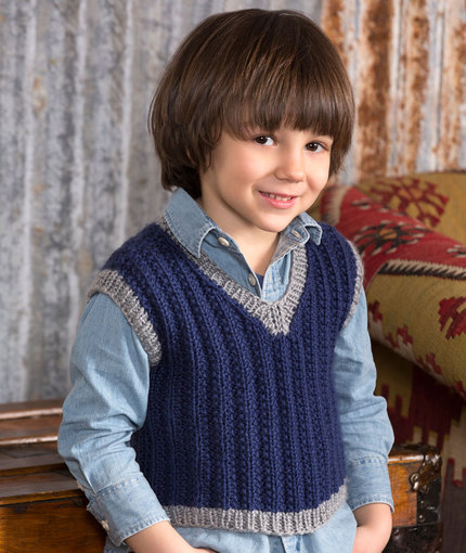 Free V Neck Vest Knitting Patterns for Boys