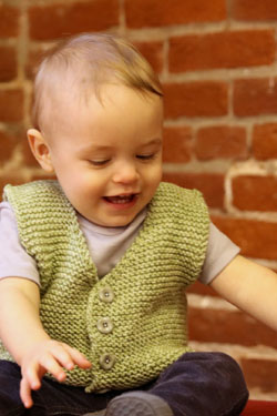 Free knitting pattern for a baby and child vest with a v neck