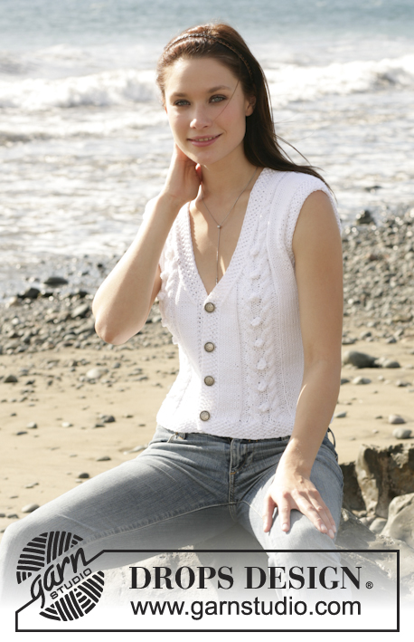 Free knitting pattern for a cable and bobble v-neck vest for women