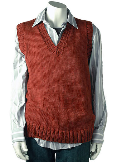 Free knitting pattern for a classic mens v neck vest