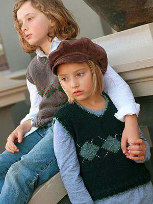 Free knitting pattern for a classic v-neck vest for kids ages 3 to 10 years old with argyle design