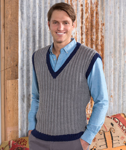Free knitting pattern for a men's seeded rib vest