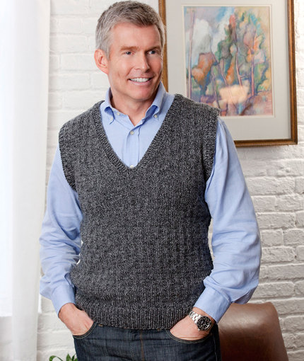 Free knitting pattern for a men's v neck vest