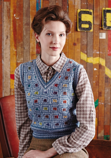 Free knitting pattern for a modern v neck vest