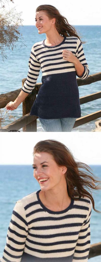 Free knitting pattern for a nautical tunic