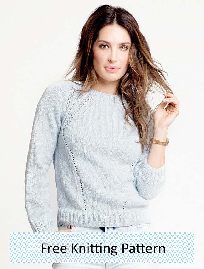 Free knitting pattern for a raglan sweater with eyelets