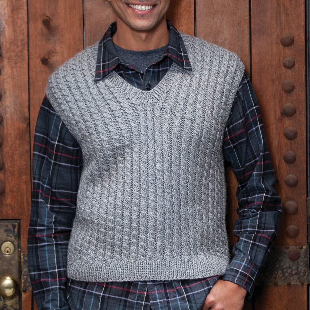 Free knitting pattern for a simple allover cable vest for men