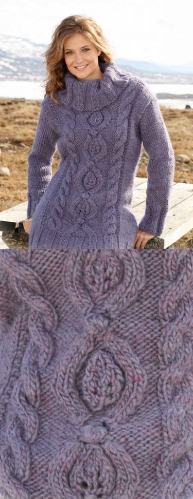 Free knitting pattern for a tunc with turtleneck and cables