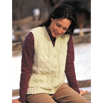 Free knitting pattern for a woman's cable vest