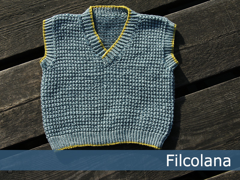 Free knitting patternfor aslip stitch v neck baby vest