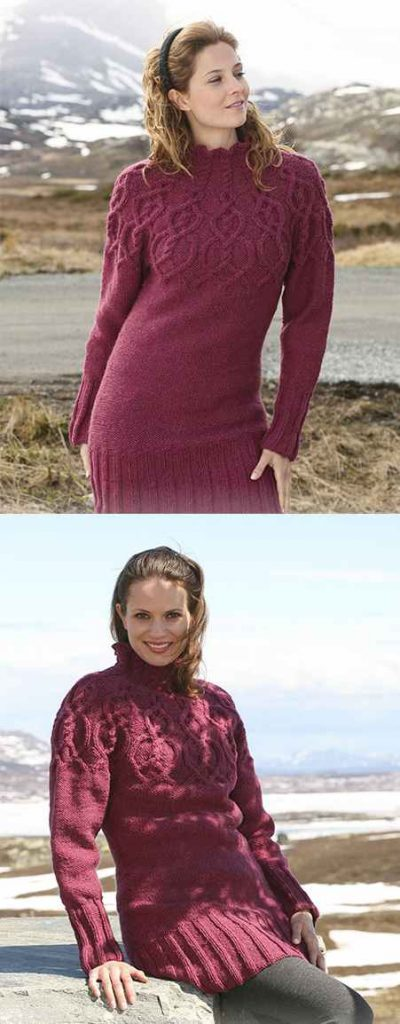 Free tunic knitting pattern with cable yoke