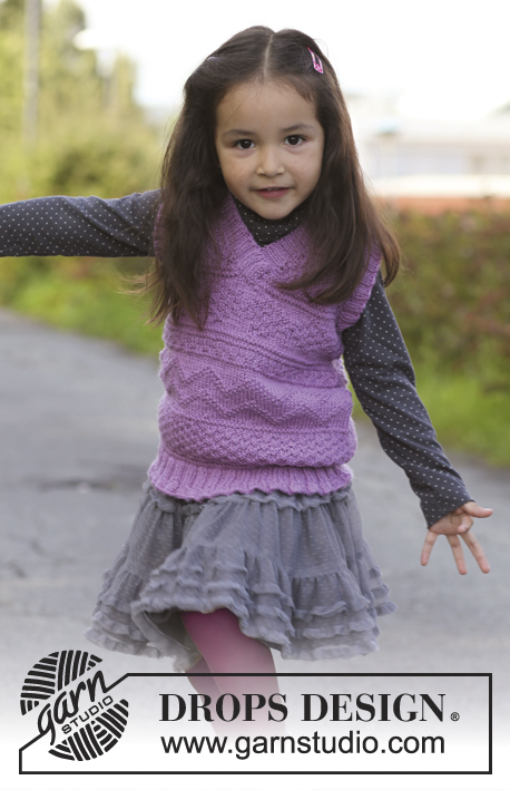 Knitted vest with textured pattern and v-neck free kids knitting pattern