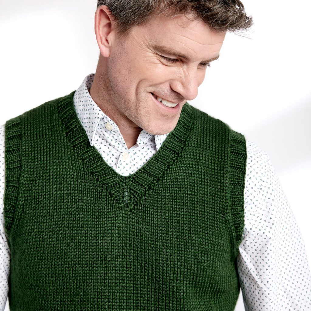 classic v-neck vest for men free knitting pattern