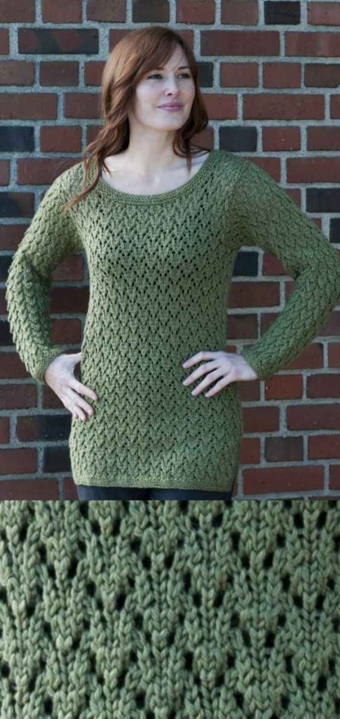 free knitting pattern for a tunic with an all over lace pattern