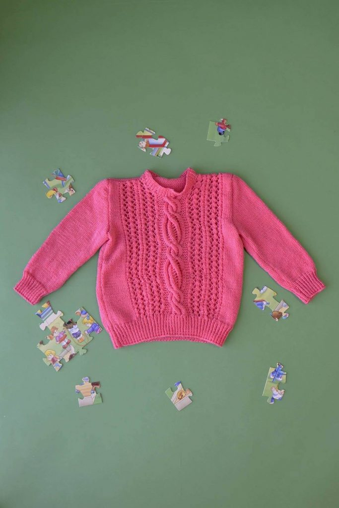 Free Knitting Pattern for a Child's Sweater Taffy Twist