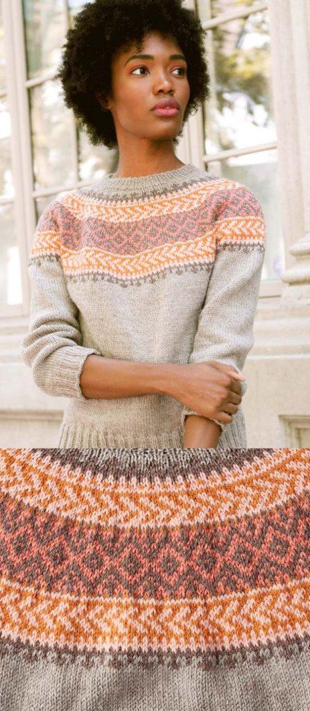 Free Knitting Pattern for a Patons Cumberland Knit Yoke Sweater