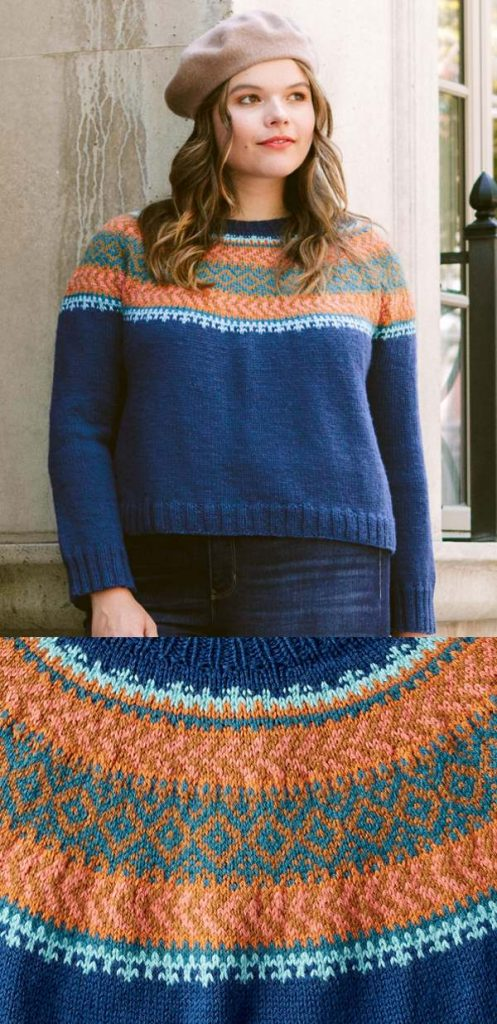 Free Knitting Pattern for a Patons Sweater with a Colorwork Yoke