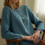 Free Knitting Pattern for a Women's Lace Yoke Cardigan
