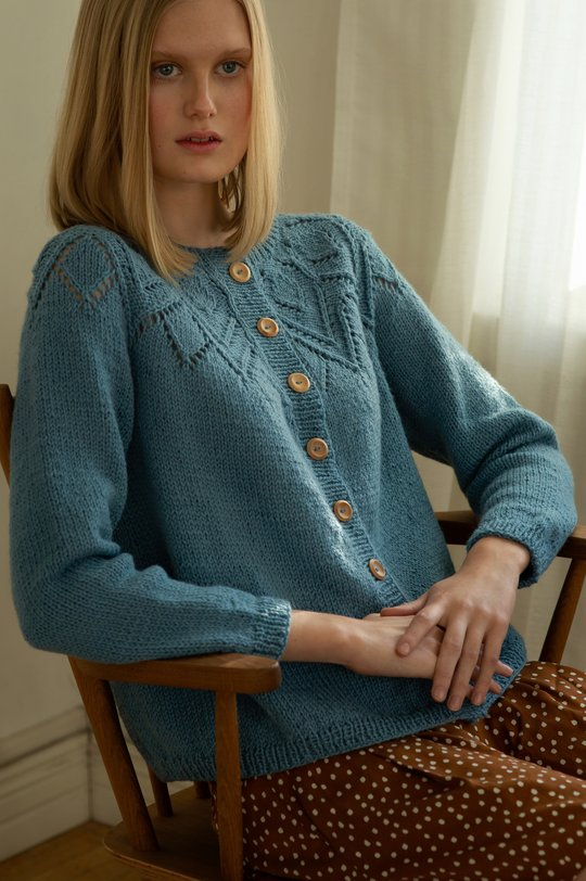 Free Knitting Pattern for a Women's Lace Yoke Cardigan