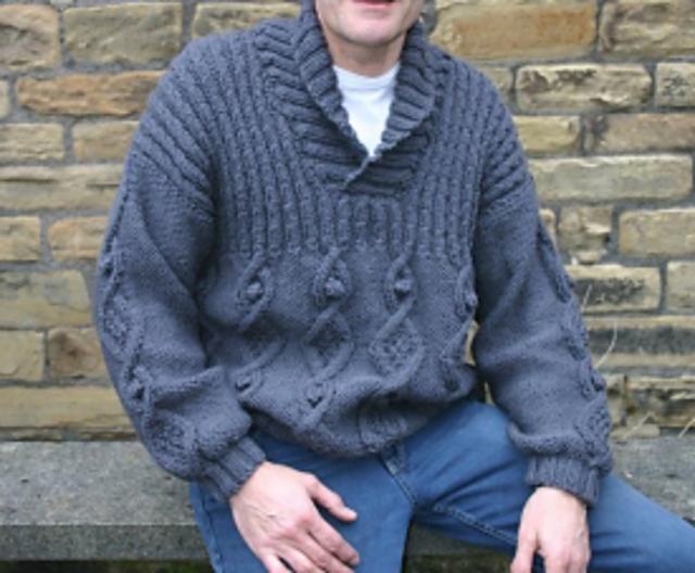 Free Knitting Pattern for a Chunky Collar Jumper for Men