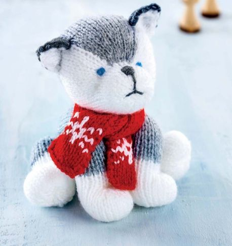 free knitting pattern for a toy dog husky