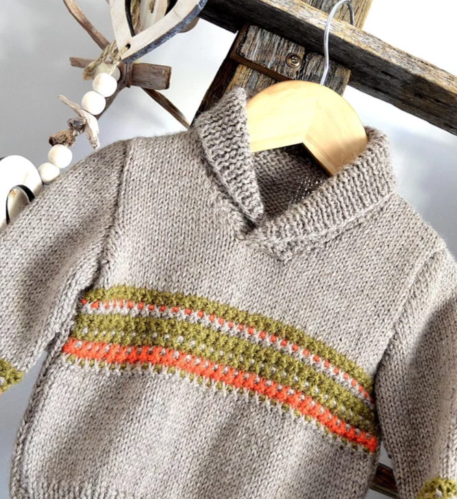 Free Knitting Pattern for a Rustic Sweater for Babies