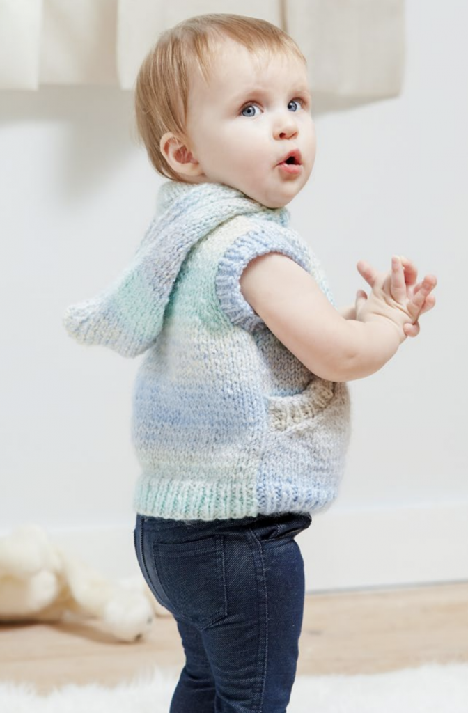Free knitting pattern for a toddler vest with hood