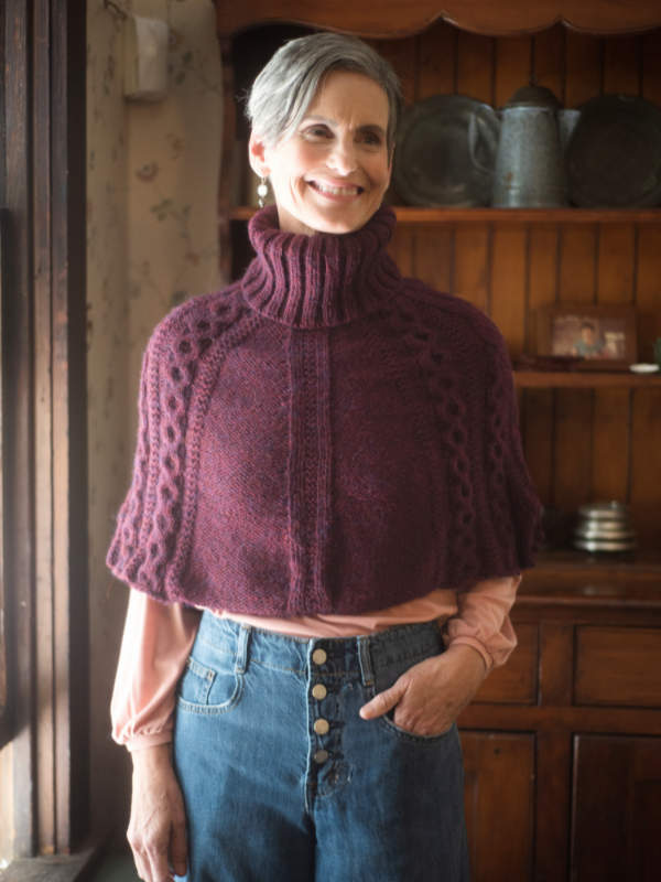 Free Knitting Pattern for a Turtleneck Cabled Capelet