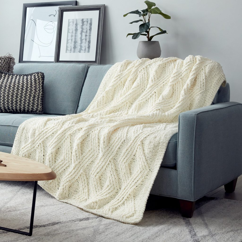 Free Knitting Pattern for a Twisted Stitch Blanket