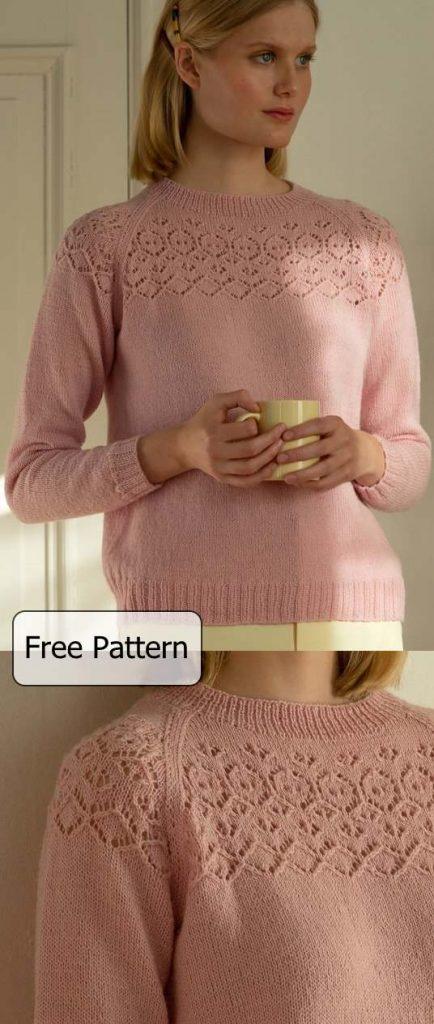 free lace yoke sweater knitting pattern