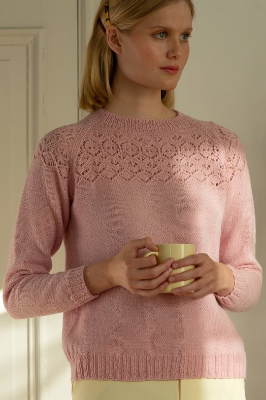 Free Knitting Pattern for a Women's Knitted Sweater With Lace Yoke