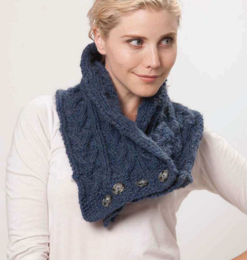 Free Scarf Knitting Patterns Australia cabled button