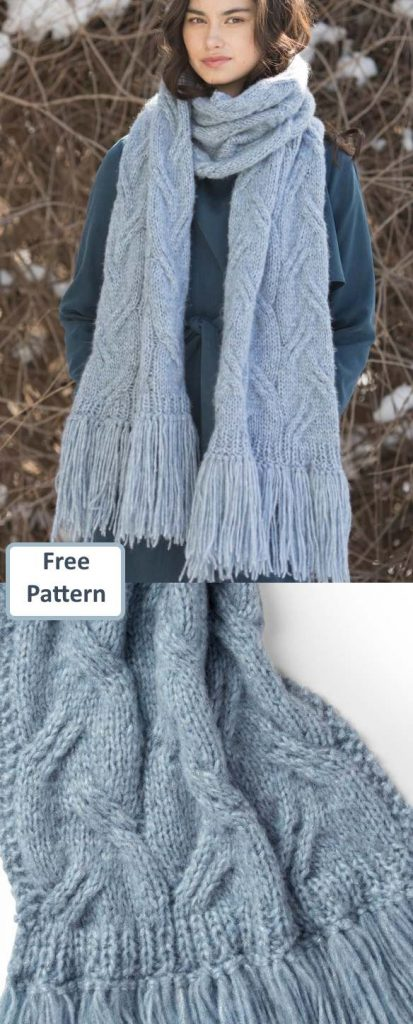 Free Scarf Knitting Patterns pdf Patons Cable Scarf