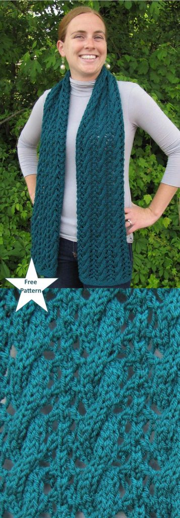Free Scarf Knitting Patterns pdf cable and lace scarf
