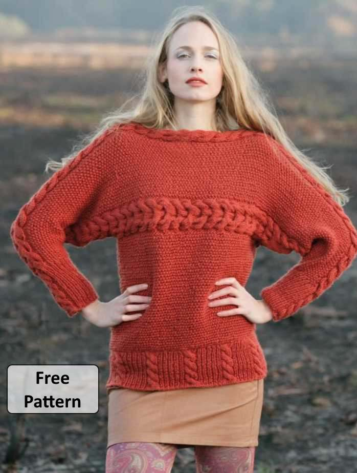 Free knitting pattern for a ladies cable pullover sweater