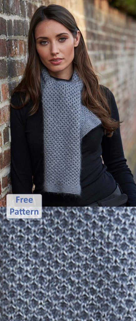 Free knitting pattern for a textured cashmere scarf wrap