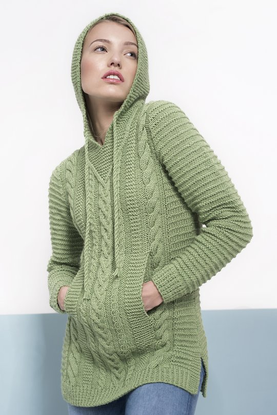Free knitting pattern for a womens cable hoodie sweater